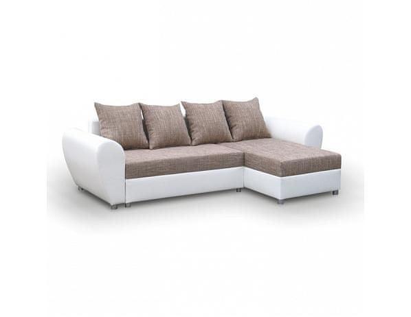Rohová univerzální sedací souprava, rozklad/úložný prostor, šenil šedý/ekokůže bílá, ROMA