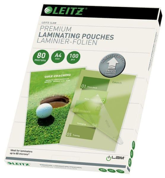 Fólie laminovací Leitz A4 se směrovací technologií, 80 mic / 100 ks