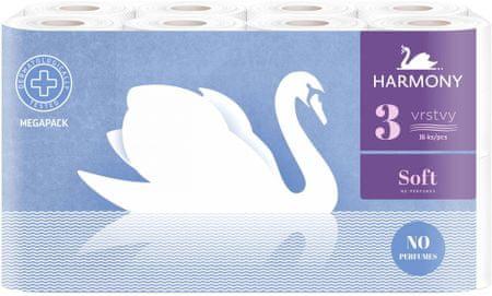 Harmony Toaletný papier Soft 3-vrstvový 16 kotúčov
