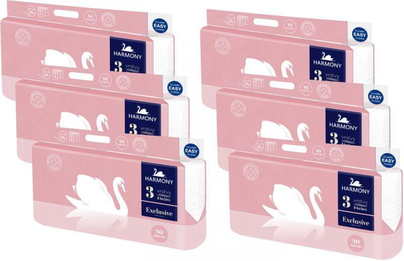 Harmony Toaletní papír Exclusive Pure 3-vrstvý 6 x 8 rolí
