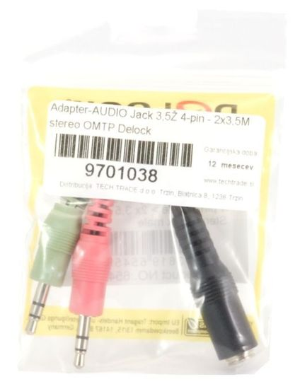 Delock adapter-AVDIO Jack 3,5Ž 4-pin - 2x3,5M stereo OMTP