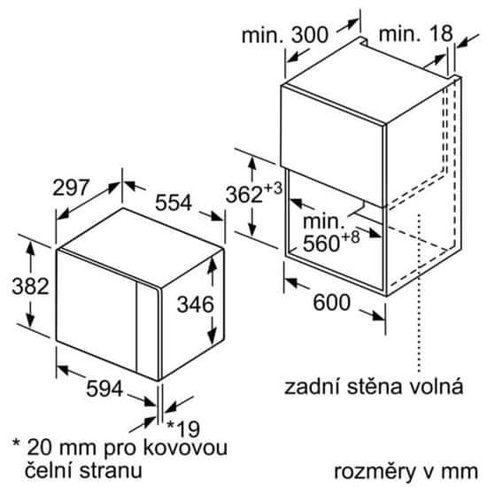 Bosch vestavná mikrovlnná trouba BFL524MS0