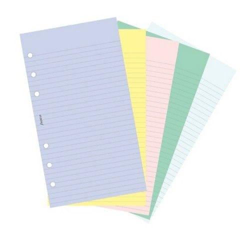 Náhradní náplň do diáře Filofax Osobní papír linkovaný, assort barev