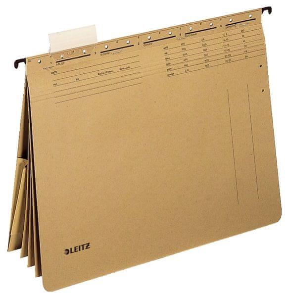 Leitz Závěsné desky ALPHA hnědé s rychlovazači a kapsou