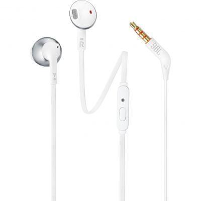 JBL T205 sluchátka s mikrofonem, bílá/stříbrná