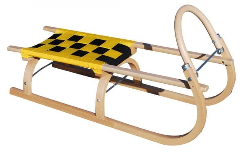 Sulov Dřevěné saně 67, 95 cm Žluto-černé