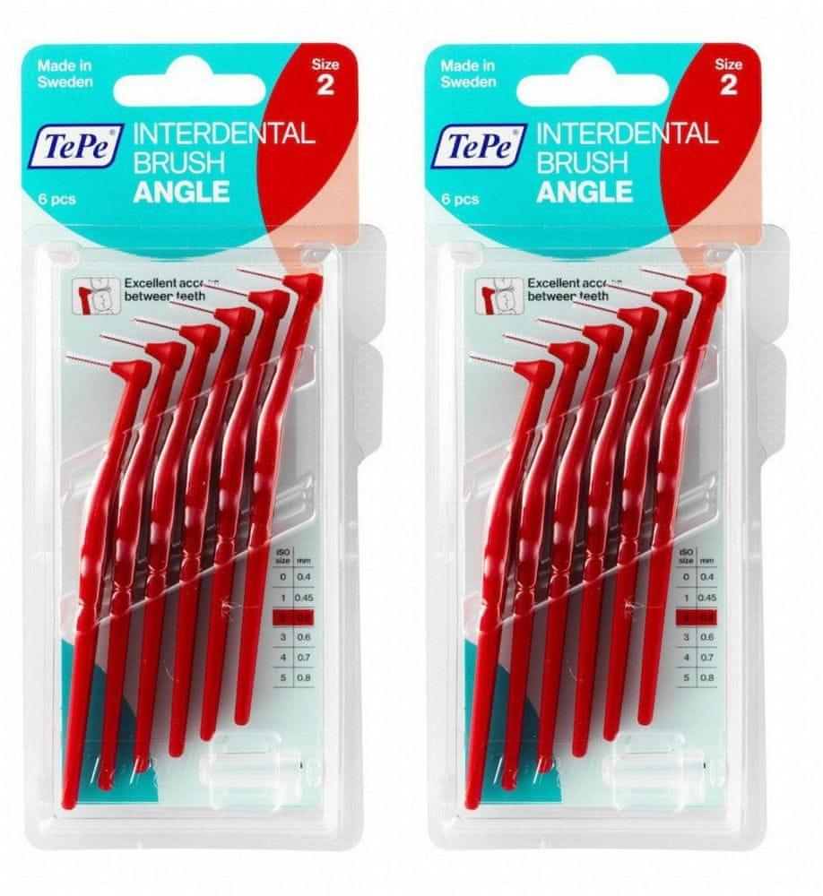 Tepe mezizubní kartáčky Angle 0,5 mm červené 2 x 6 ks