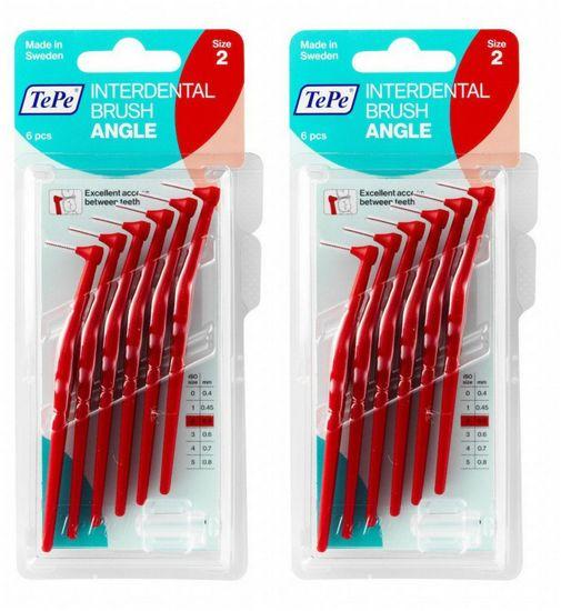 Tepe Mezizubní kartáčky Angle 0,5 mm červený 2 x 6 ks