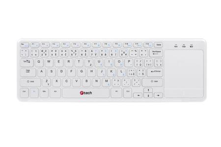 C-Tech bezdrôtová klávesnica s touchpadom biela (WLTK-01)