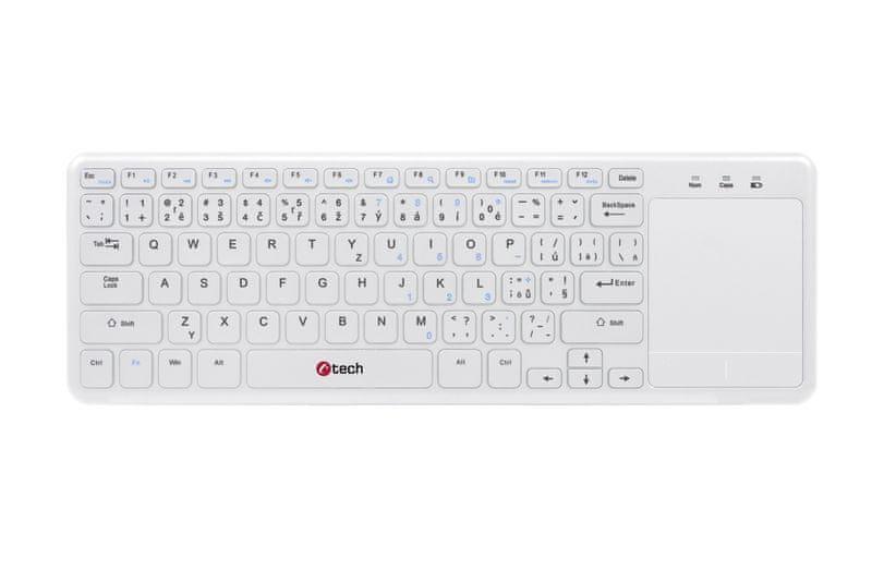 C-Tech bezdrátová klávesnice s touchpadem bílá (WLTK-01)