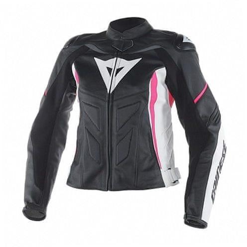 Dainese bunda dámská AVRO D1 LADY vel.46 černá/bílá/růžová, kůže