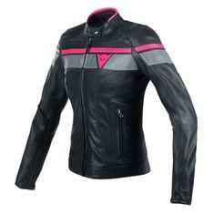 Dainese dámska kožená moto bunda BLACKJACK čierna/sivá/červená