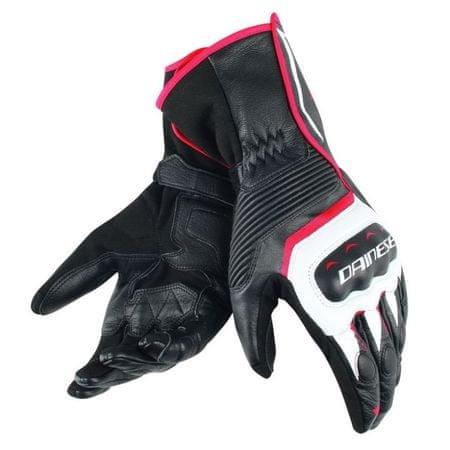 Dainese pánske rukavice na motorku  ASSEN čierna/biela/červená