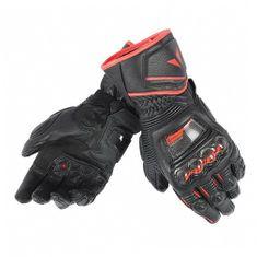 Dainese pánské rukavice na motorku  DRUIDS D1 LONG černá/černá/fluo červená