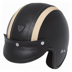 Held motocyklová helma  RUNE s koženým povrchem, černá/béžová