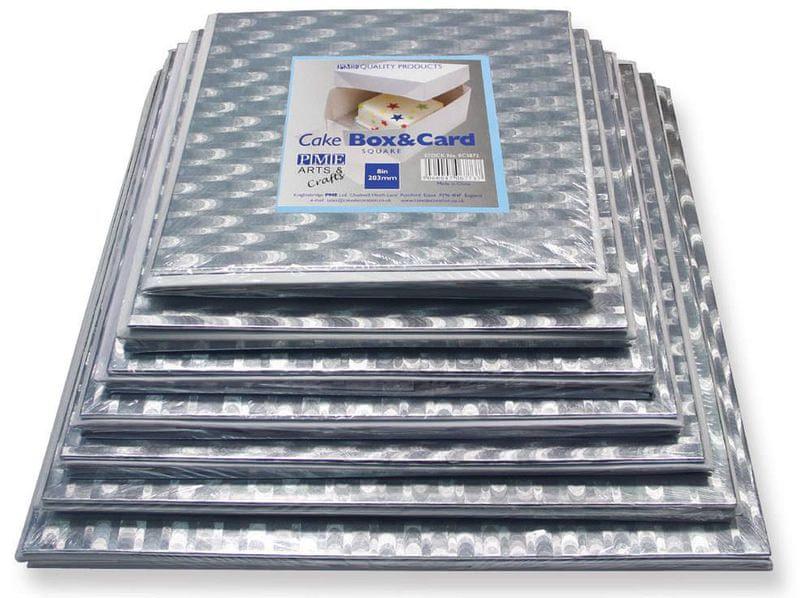 PME Podložka dortová stříbrná čtverec 30,5cm x 30,5cm + dortová krabice s víkem