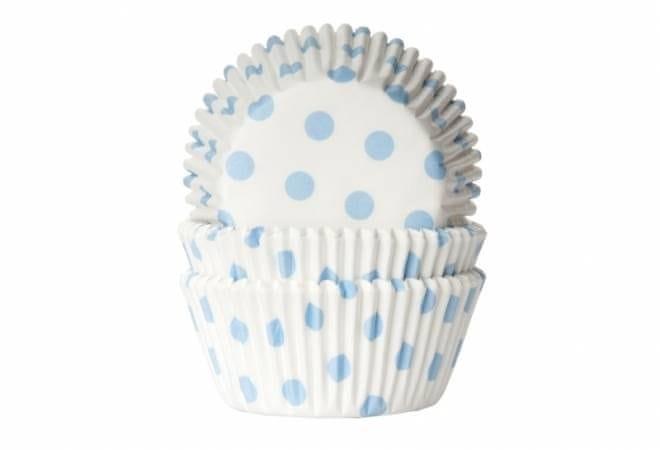 House of Marie Košíčky na muffiny 50ks světle modré puntíky