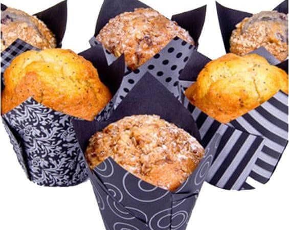 House of Marie Stříbrno černé papírové košíčky na muffiny tulipán 4 vzory 200ks