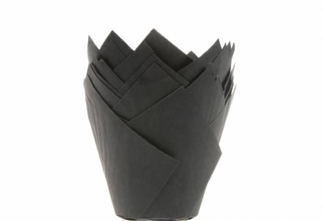 House of Marie Černé papírové košíčky na muffiny tulipán 200ks