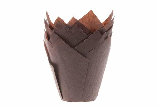 House of Marie Hnědé papírové košíčky na muffiny tulipán 200ks