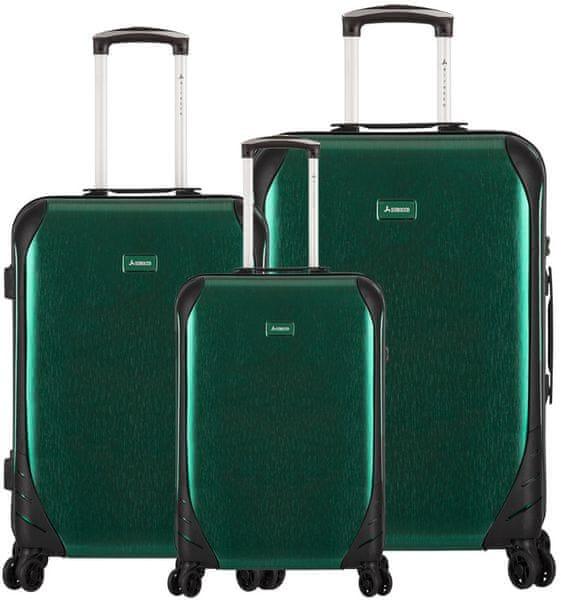 Sirocco T-1159/3 ABS Sada cestovních kufrů, zelená