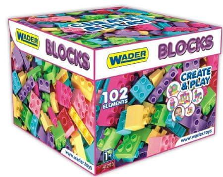 Wader Műanyag építőkockák lányoknak, 102 db
