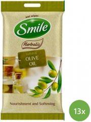 SMILE Herbalis vlažilni robčki - Oljčno olje, 13x10 kosov
