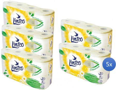 LINTEO Satin toaletni papir s kamilicom, 3-slojni, 5 x 8 rola