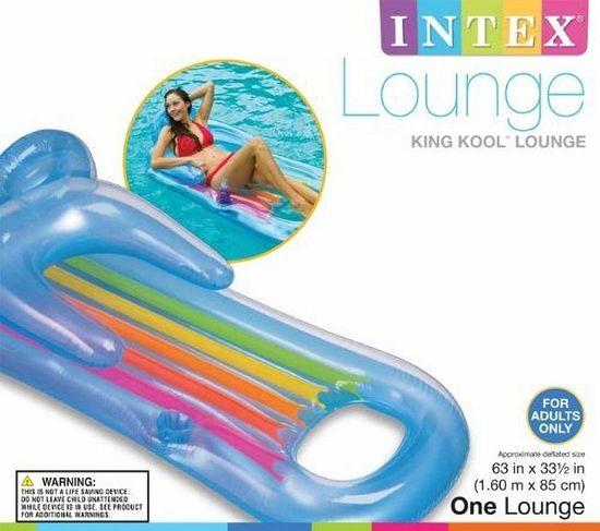 Intex Napihljiva blazina ležalnik King Cool Lounge, modra