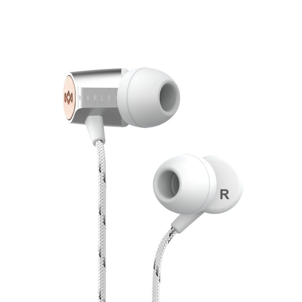 MARLEY Uplift 2.0 sluchátka s mikrofonem, stříbrná