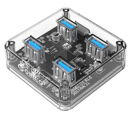Orico USB hub, 4 ulaza, USB 3.0, prozirno (MH4U)