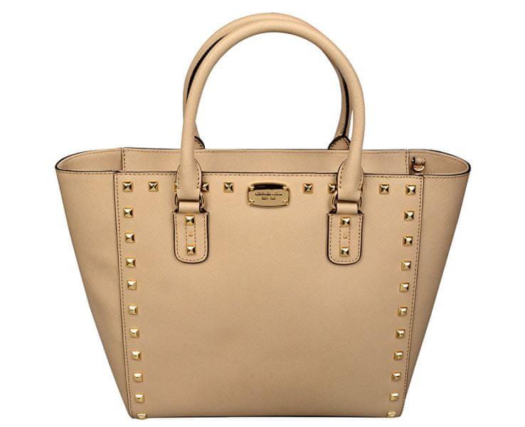 Michael Kors Luxusní kožená kabelka Sandrine Stud Saffiano Leather Studded Large Tote Bag - Beige