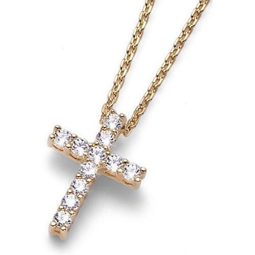 Oliver Weber Pozlacený stříbrný náhrdelník s křížkem Heaven 61127G