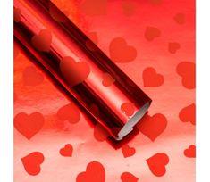 Giftisimo Balicí papír lesklý, červený se srdíčky, 5 archů