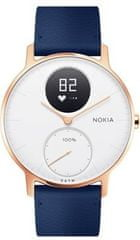 Nokia Steel HR (36mm) - Rose Gold w/ Blue Leather + Grey Silicone wristband