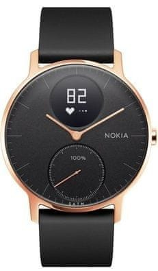 Nokia Steel HR (36mm) - Rose Gold w/ Black Silicone wristband