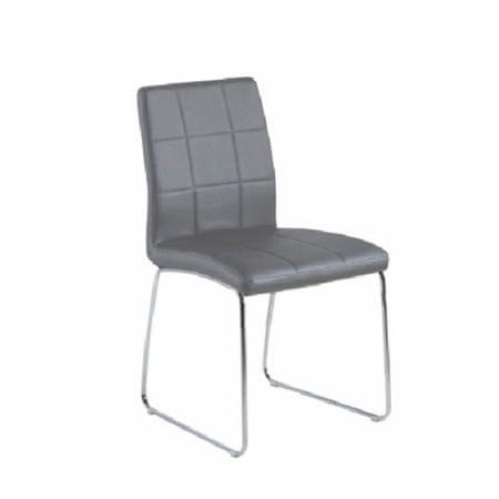 Stolička, sivá ekokoža+ chrom nohy, SIDA