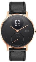 Nokia pametna ura Steel HR - Rose Gold w/ Black Leather + Black Silicone wristband, zlato črna, 36 mm