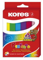 Pastelky voskové Kores 12 ks trojhranné Jumbo pr. 14 mm