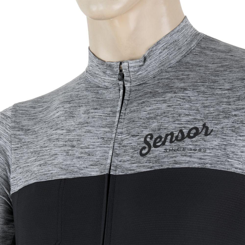Sensor Cyklo Motion pánský dres kr.rukáv celozip šedá/černá L
