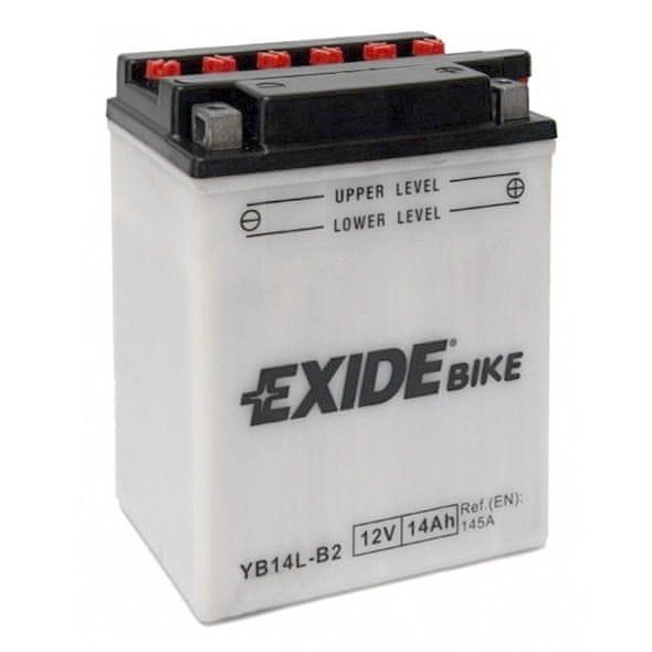 Exide baterie EB14L-B2, 12V 14Ah, za sucha nabitá s antisulfační úpravou. Náplň součástí balení.
