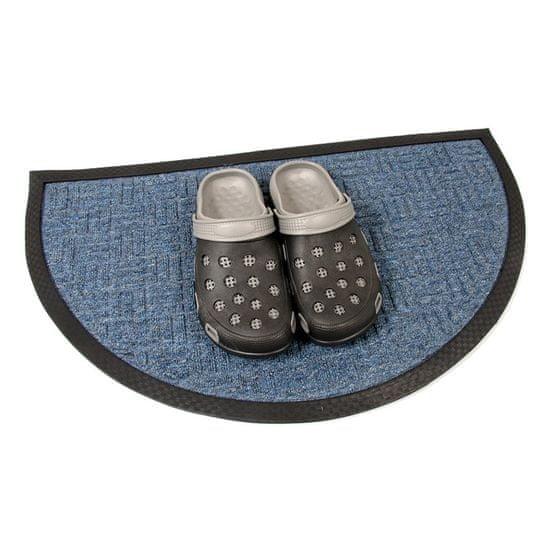 FLOMA Modrá textilní vstupní půlkruhová rohož Criss Cross - 75 x 45 x 1 cm