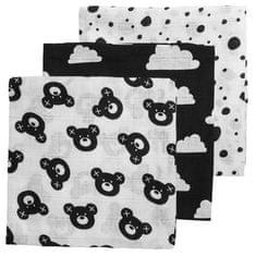 Meyco Plienky 70x70cm čierno-biele (mráčik, medvedík, bodky)