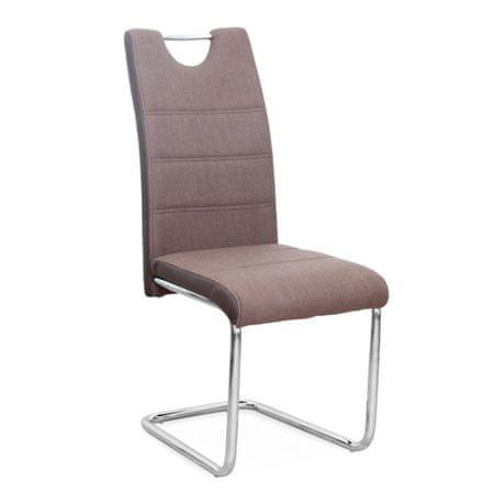 Stolička, ekokoža hnedá/hnedá látka + chróm, IZMA