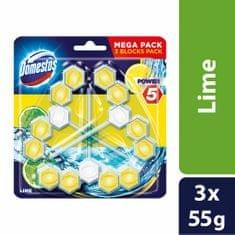Domestos Power 5 Lime 3x55 g