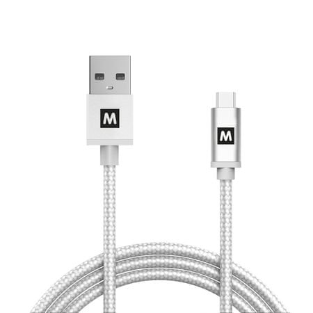 MAX kabel micro USB 2.0 opletený 1m, stříbrná