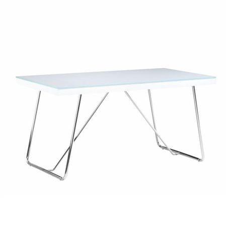 Jedálenský stôl, tvrdené sklo/kov, biela/chróm, AMI
