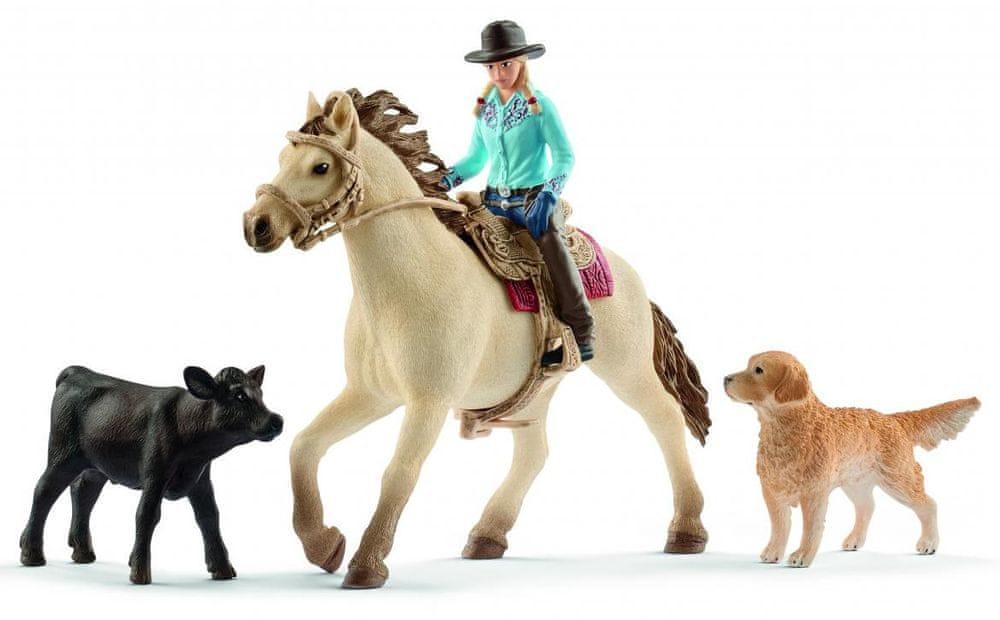 Schleich Set westernová jazdkyňa so zvieratkami 42419