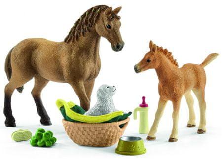 Schleich konj z mladičkom in dodatki 42432