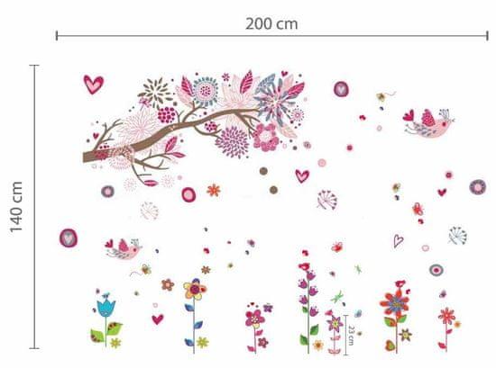 Walplus naklejki na ścianę, kwiaty i ptaszki
